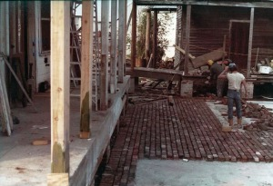 Laying brick in The Cabin's Courtyard, circa 1984
